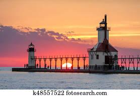 Solstice Sundown at St. Joseph Lighthouses