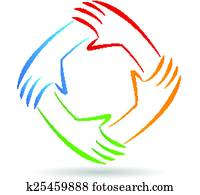 Teamwork unity hands logo