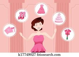 Woman planning her wedding