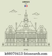 City Hall in Limoges, France. Landmark icon
