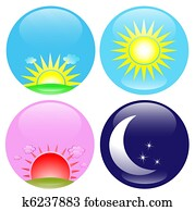 Day and night icons set