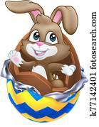 oster hase, kanninchen, ausbrechen, von, schokolade ei