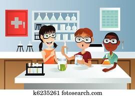 studenten, in, wissenschaft projekt