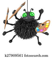 3d Halloween spider is an artist