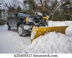 kleinlieferwagen, pflügen, schnee