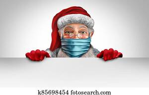 Santa Claus Wearing A Mask Banner