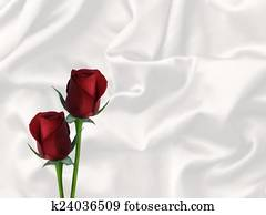 two red roses white satin valentine