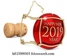 2019 New Year's champagne cork isolated on white, 3d illustration