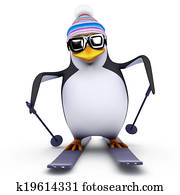 3d Skiing penguin