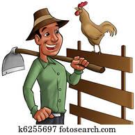 farmer and cock