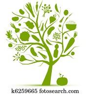 gesund, leben, -, grüner baum, mit, gemuese, für, dein, design