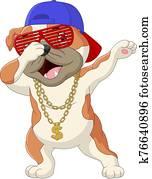 niedlich, hund, tupfen, tanz, tragen, sunglasses,, hat,, und, gold halskette