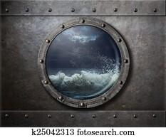 old ship metal porthole or window with sea storm