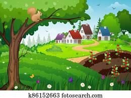 Village and garden