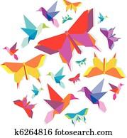 frühling, origami, vogel, und, schmetterling, kreis