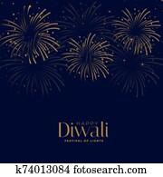 happy diwali festival firework celebration background design