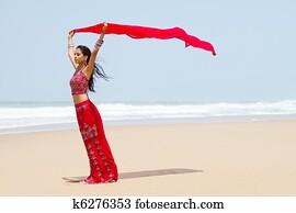 indian woman holding sari