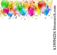 Set party balloons, confetti with space for text