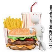 3D white people. Fast food. Hamburger fries drink