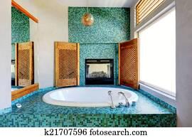 Archivio fotografico bagno interno con turchese piastrella