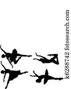 ballett, silhouetten