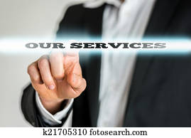 Businessman Pointing to Our Services Sign