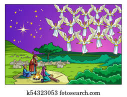 Christmas Story. Shepherds and the Choir of Angels.