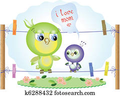 Mothers day, birds, vector