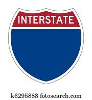Blank Interstate Highway sign