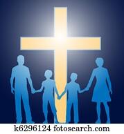 Christian family standing before luminous cross