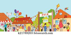 Fair holiday at the town illustration with many people and houses