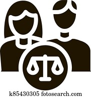 Family in Court Law And Judgement Icon Vector Illustration