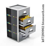 File cabinet combined with network server. 3D illustration