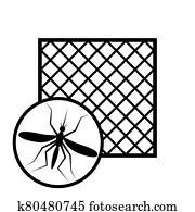 signe de moustiquaire avec cadre pour l'icône de la fenêtre en pvc