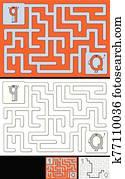 leicht, alphabet, labyrinth, -, brief, q