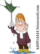 Man with broken umbrella