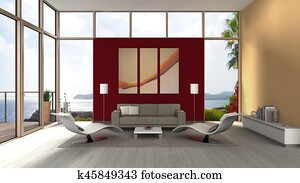seaside living room interior with glass front