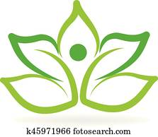 Logo green lotus yoga man
