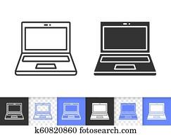 Open Laptop simple black line vector icon