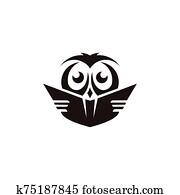 owl with books in graduation cap
