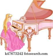 prinzessin, spielen klaviers