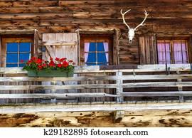 Rustic old Alpine hut architecture details
