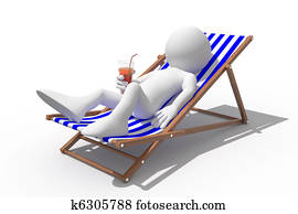Tourist lying on a deck chair