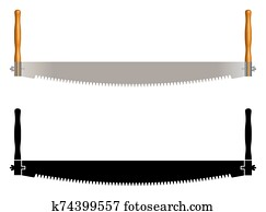 Two man saw. Carpenter tools. Vector illustration