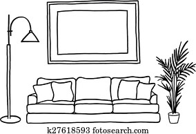 couch and blank picture frame, vect