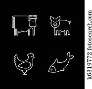 cow,, fish,, huhn, und, schwein