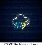 Glowing neon thunderstorm with rain weather icon. Storm and rain symbols with lightning in neon style