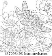 hand, ziehen, stilisiert, libelle, insekt