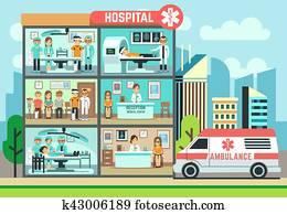 hospital,, medizinische klinik, building,, krankenwagen, mit, patienten, und, doktoren, healthcare, vektor, flache, abbildung