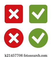 Check Mark Stickers and Buttons. Red Green. .